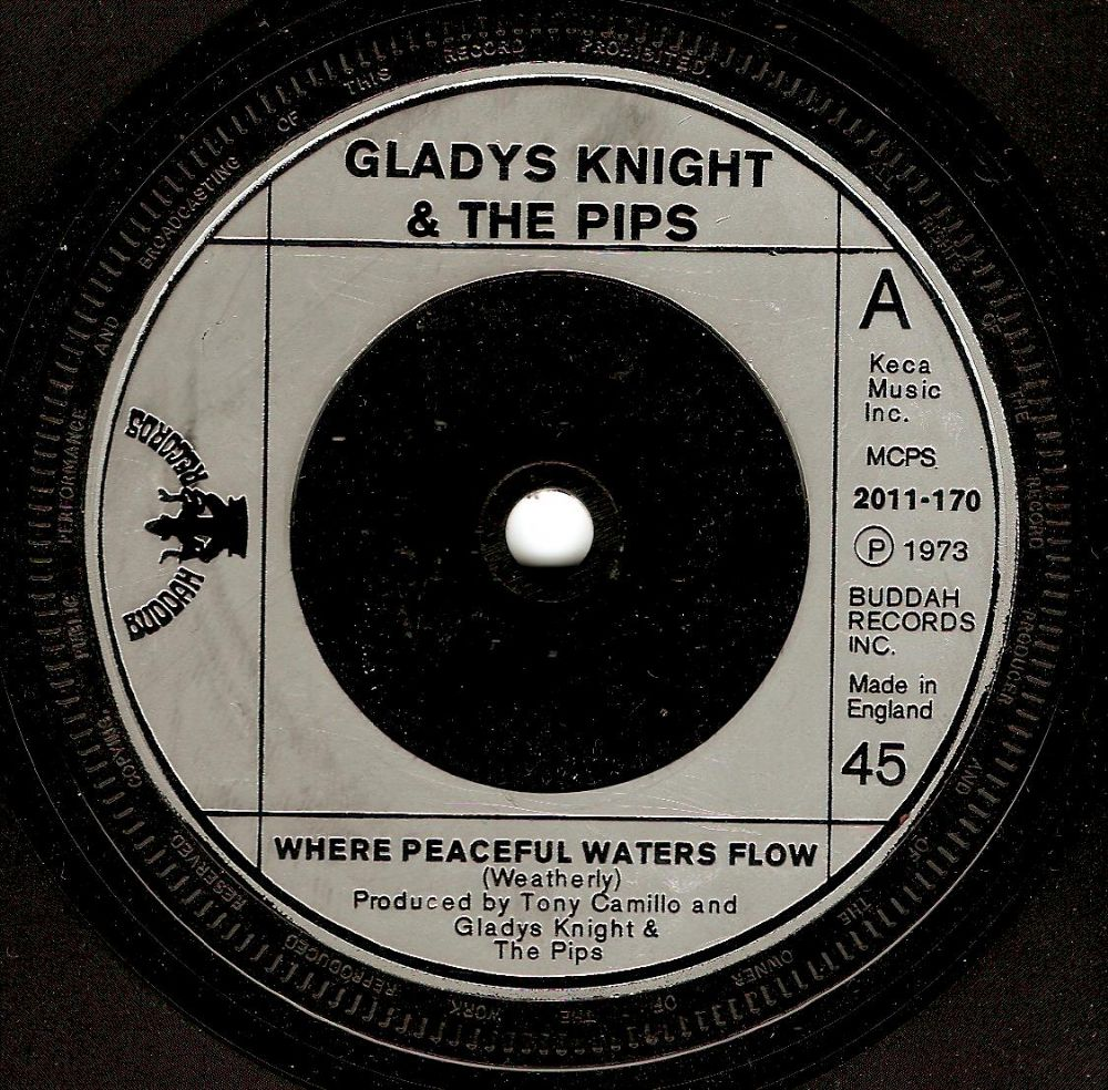 GLADYS KNIGHT Where Peaceful Waters Flow Vinyl Record 7 Inch Buddah 1973
